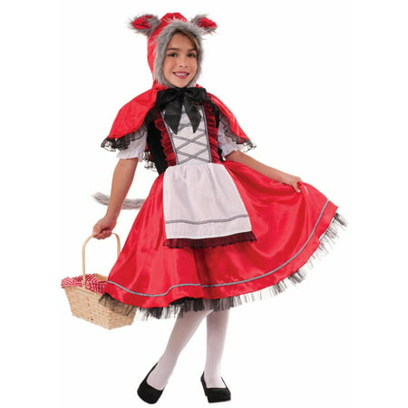 Lil Red Riding Wolf Girls Child Fairy Tale Halloween Costume