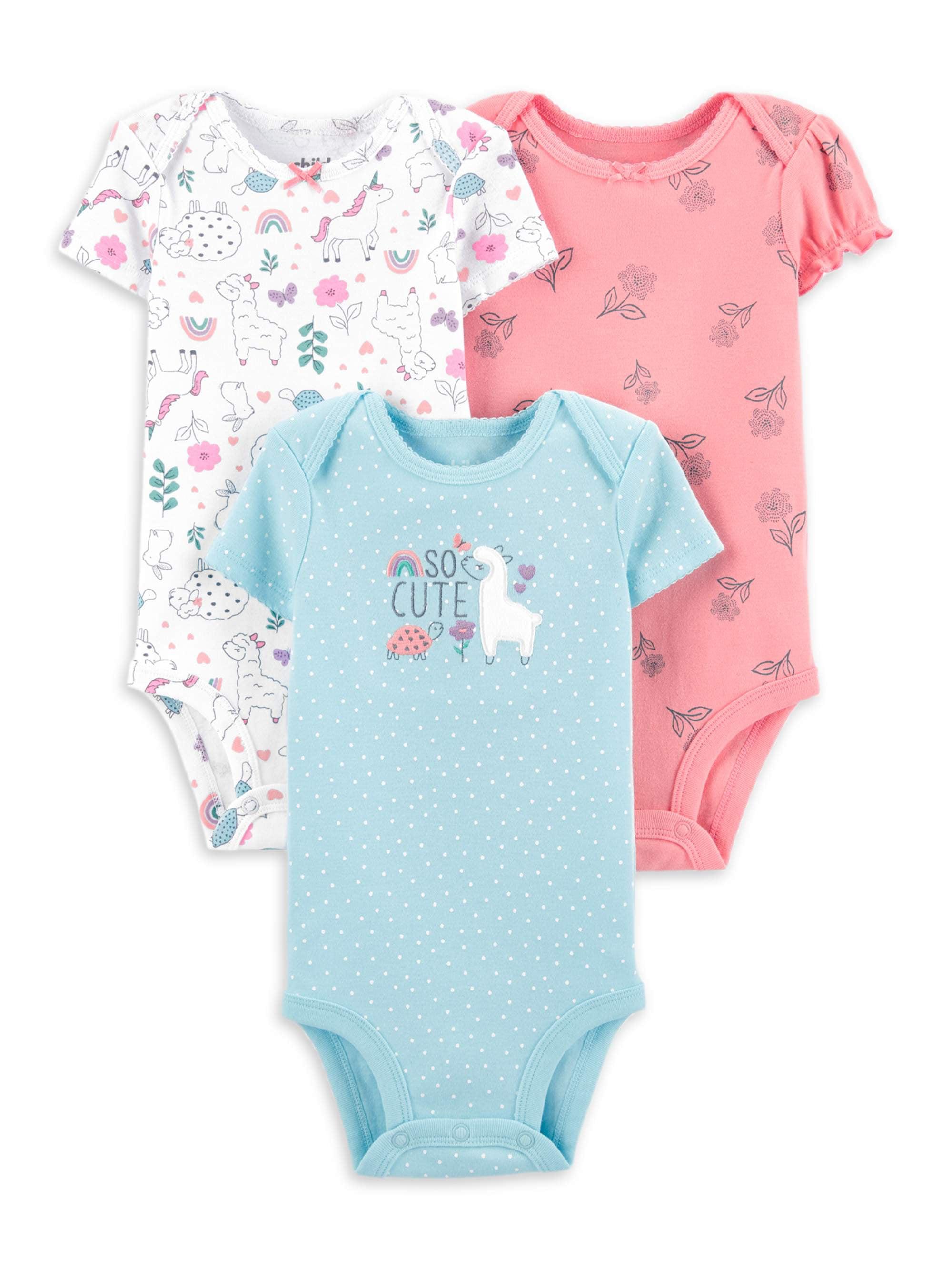 Child of Mine Carters Short Sleeve Bodysuits 3 pack Girls Preemie NB 0-3 M Pink