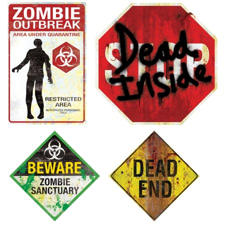 Magnetic Signs Halloween Decor Zombie Outbreak Beware Dead End 4 pc Set Props