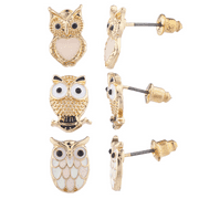 Lux Accessories Gold Tone Three Triple Pastel Owl Stud Post Earring Set (3prs)