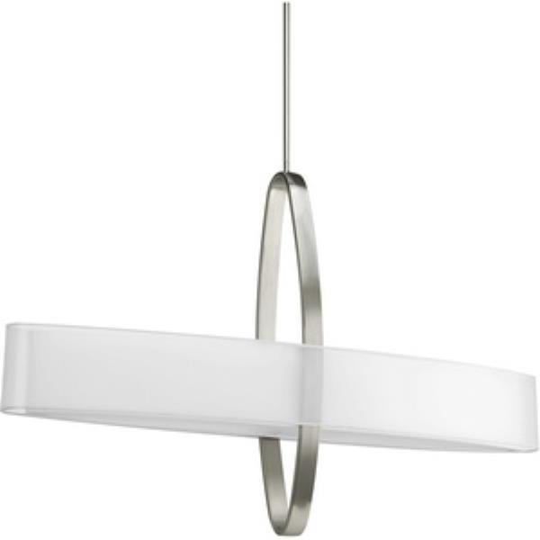 Progress Cuddle - Two Light Pendant, Brushed Nickel Finish with  Mylar Linen Shade
