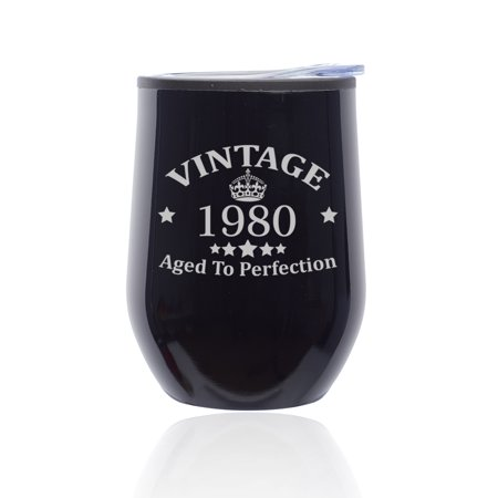 Stemless Wine Tumbler Coffee Travel Mug Glass with Lid Vintage Aged To Perfection 1979 40th Birthday (Midnight Black) Glass Travel Mugs