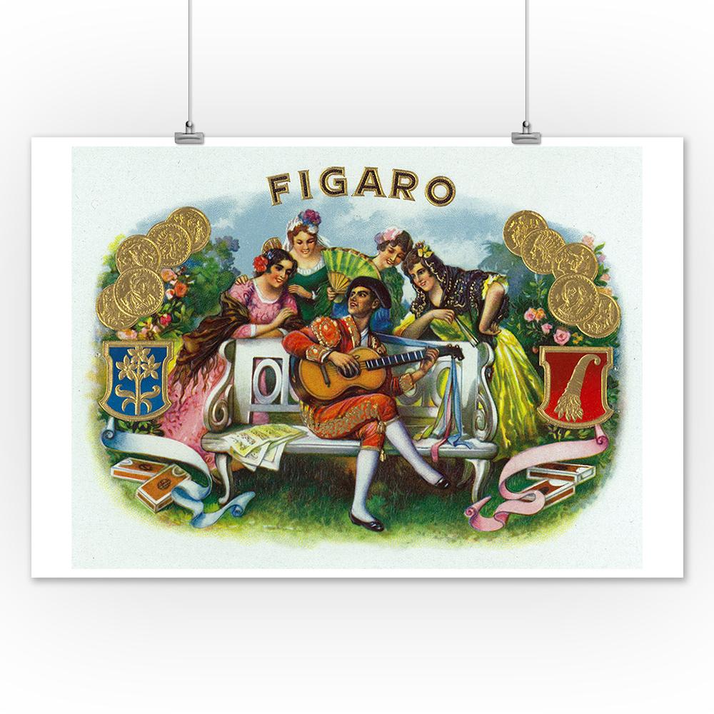 Cigar Box Wall Art: Figaro Brand Cigar Box Label (12x18 Art Print, Wall Decor