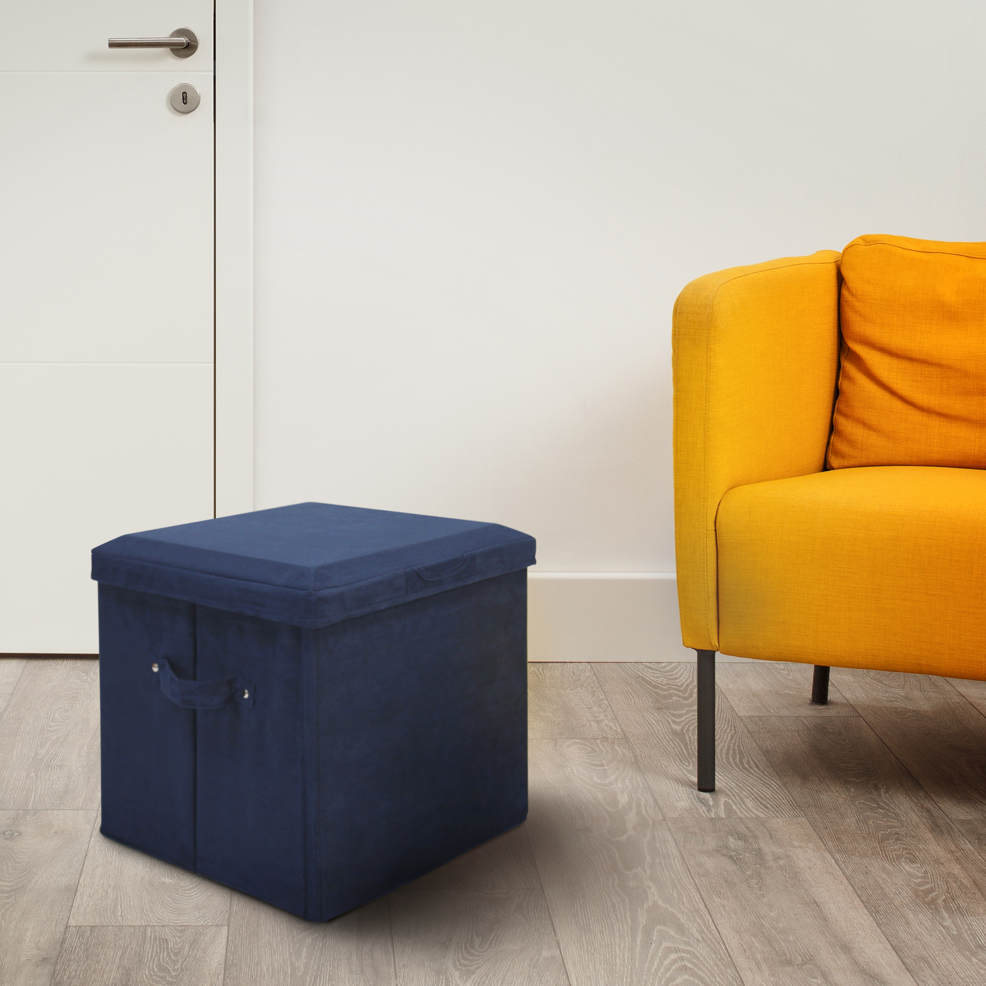 Seat Pad Folding Storage Ottoman. Micro Suede Cover - Pink