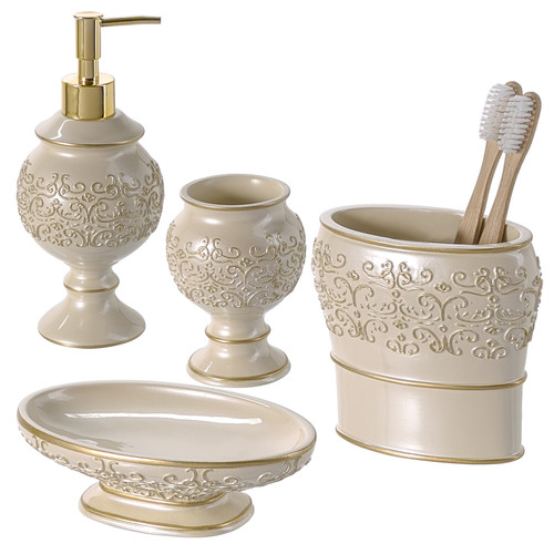 Creative Scents Shannon 4-Piece Bathroom Accessory Set