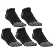 FUN TOES Men Toe Socks Barefoot Running Socks Size 6-12 Value Pack of 5 Pairs Black