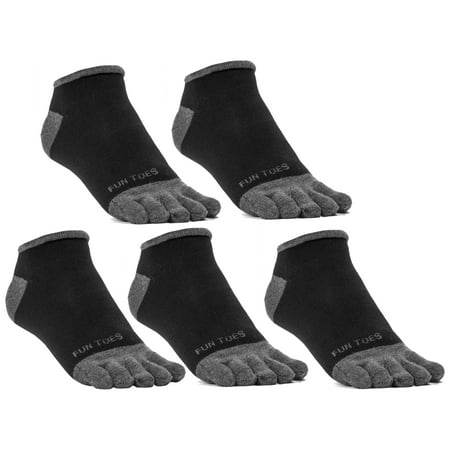 FUN TOES Men Toe Socks Barefoot Running Socks Size 6-12 Value Pack of 5 Pairs Black