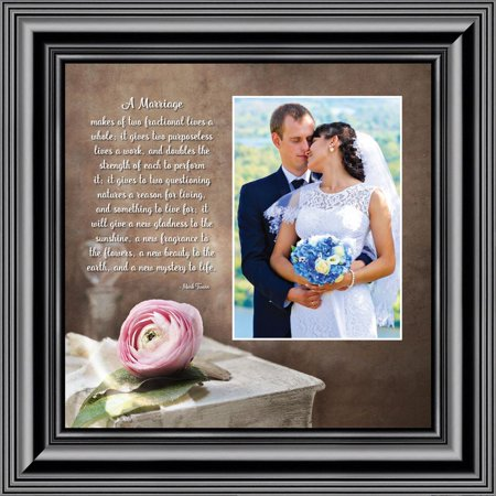 A Marriage, Mark Twain Poem, Picture Framed Wedding Gift for Bride and Groom, 10X10 (Wedding Poems For Bride And Groom From Friends)