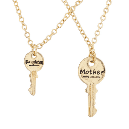 Lux Accessories Goldtone Mother Daughter Key Engraved Pendant Necklace 2pc