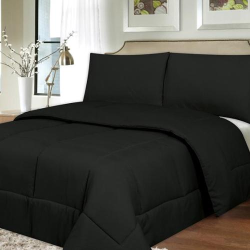 All Season Hypo-Allergenic Lightweight Down Alternative Comforter Comforter, black, twin