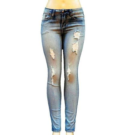 Jean9 Womens Junior Blue Denim Jeans Destroy Skinny Ripped Distressed Pants