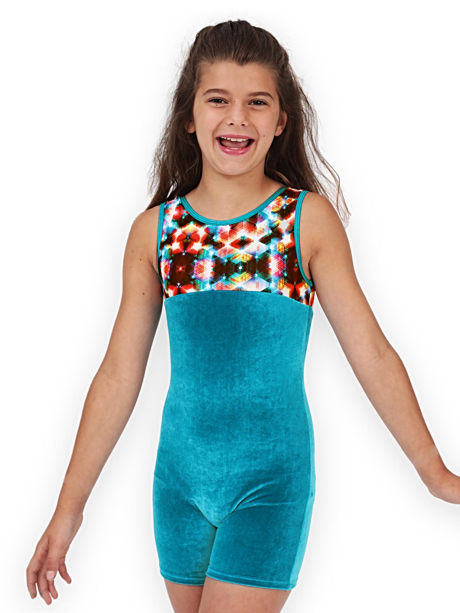 Gymnastics Biketard for Girls - Geo Kaleidoscope Velvet - Leap Gear by Pelle - 6 | Child Medium