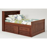 Woodcrest Heartland Full-sized Bookcase Captains Bed with Storage Chocolate