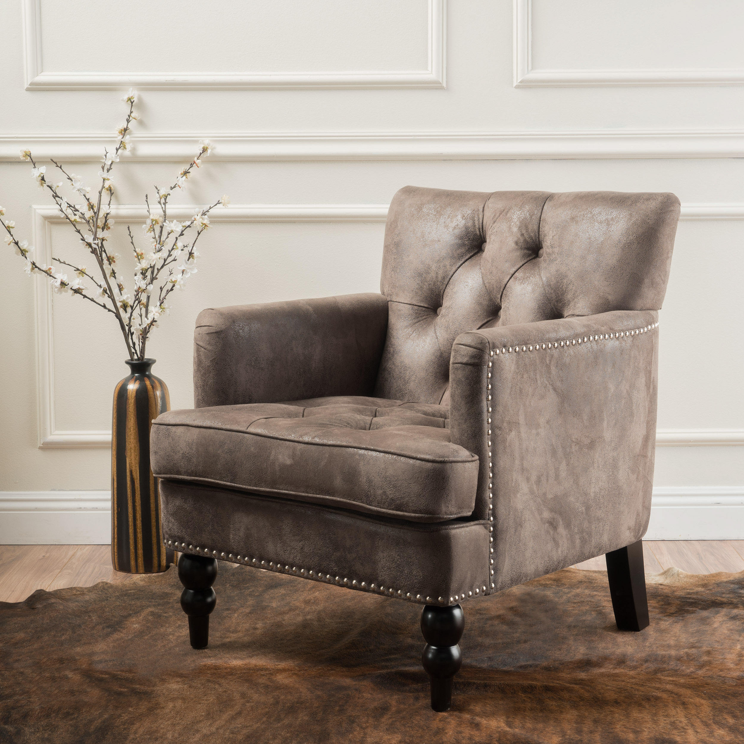 Noble House Mitchel Greyish Brown Microfiber Club Chair