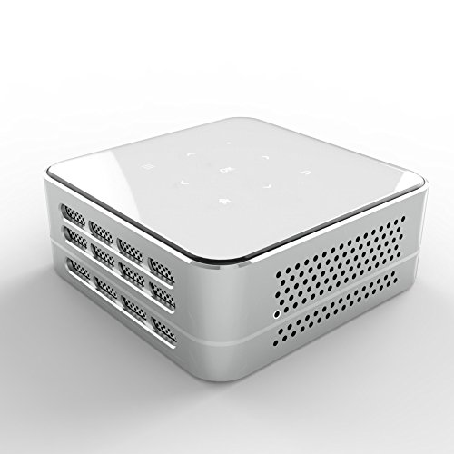 Ivation Pro3 Portable Rechargeable DLP Projector - Streams via HDMI\/MHL & USB connections, Wi-Fi, Bluetooth - Compatible with DLNA, Miracast, Airplay Wireless Mirroring for iOS & Android - Silver