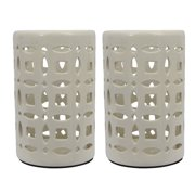 White Ceramic Lanterns (Set of 2) Ivory