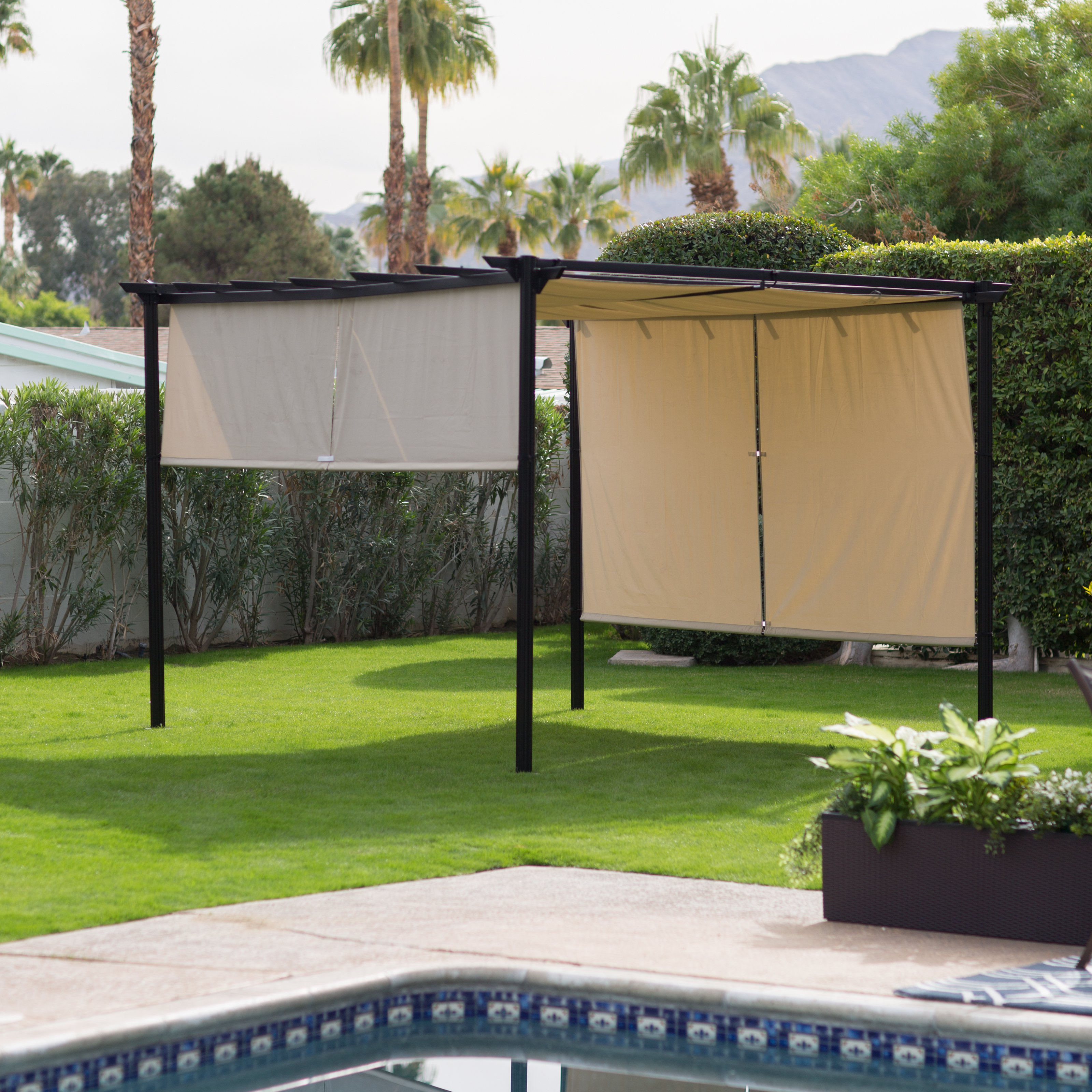 Belham Living Steel Outdoor Pergola Gazebo with Retractable Canopy Shades by