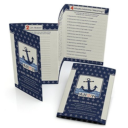 Ahoy - Nautical - Baby Shower Games Pack - 5 Games in 1 - Fabulous 5 - Set of 12