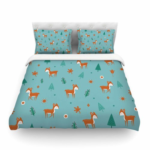 East Urban Home Cute Deer Pattern Kids by Cristina Bianco Featherweight Duvet Cover