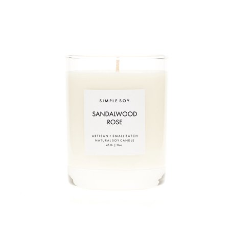 Simple Soy Natural Scented Soy Candle, Sandalwood Rose in Rock Glass, 11 oz