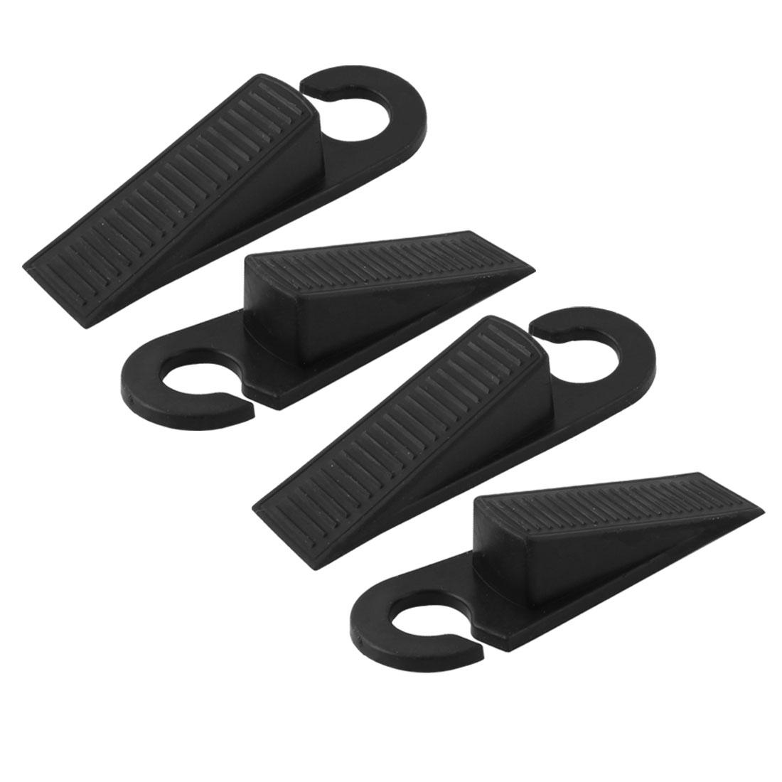 Unique Bargains 4 Pcs Rubber Anti-slip  Wedge Door Stop Black