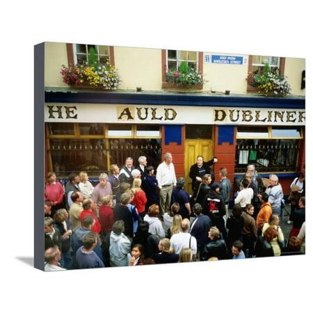 Irish Music Pub Crawl, The Auld Dubliner, Temple Bar, Ireland Stretched Canvas Print Wall Art By Holger - Bar Crawl Ideas