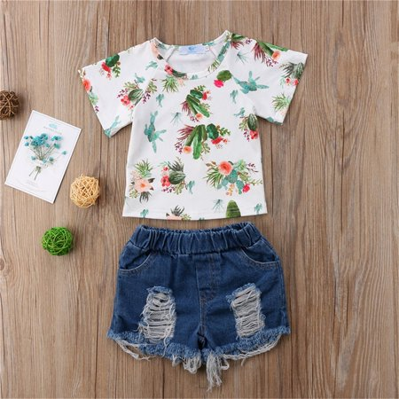 Toddler Kids Baby Girls Floral Tops T-shirt Denim Pants Shorts Outfits Clothes