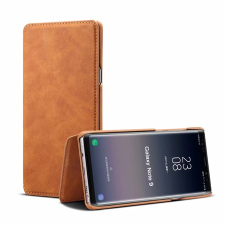 Galaxy Note 9 Cases and Covers, Allytech Smart Business Style Waxed Leather Folio Flip Case with Kickstand Card Holders Magnetic Closure Full Body Protection Cover Shell for Samsung Note 9, Brown