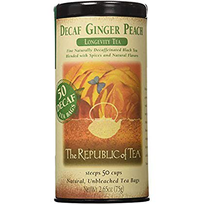 Decaf Ginger Peach Black Tea, Longevity Blend Of Ginger And Peach Tea (50 Tea Bags)