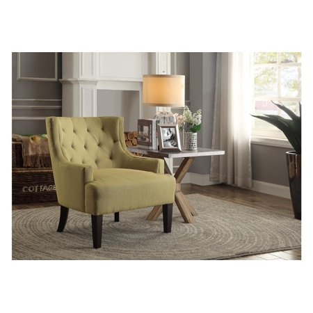 Tufted Fabric Accent Chair With Arms In Mustard Yellow