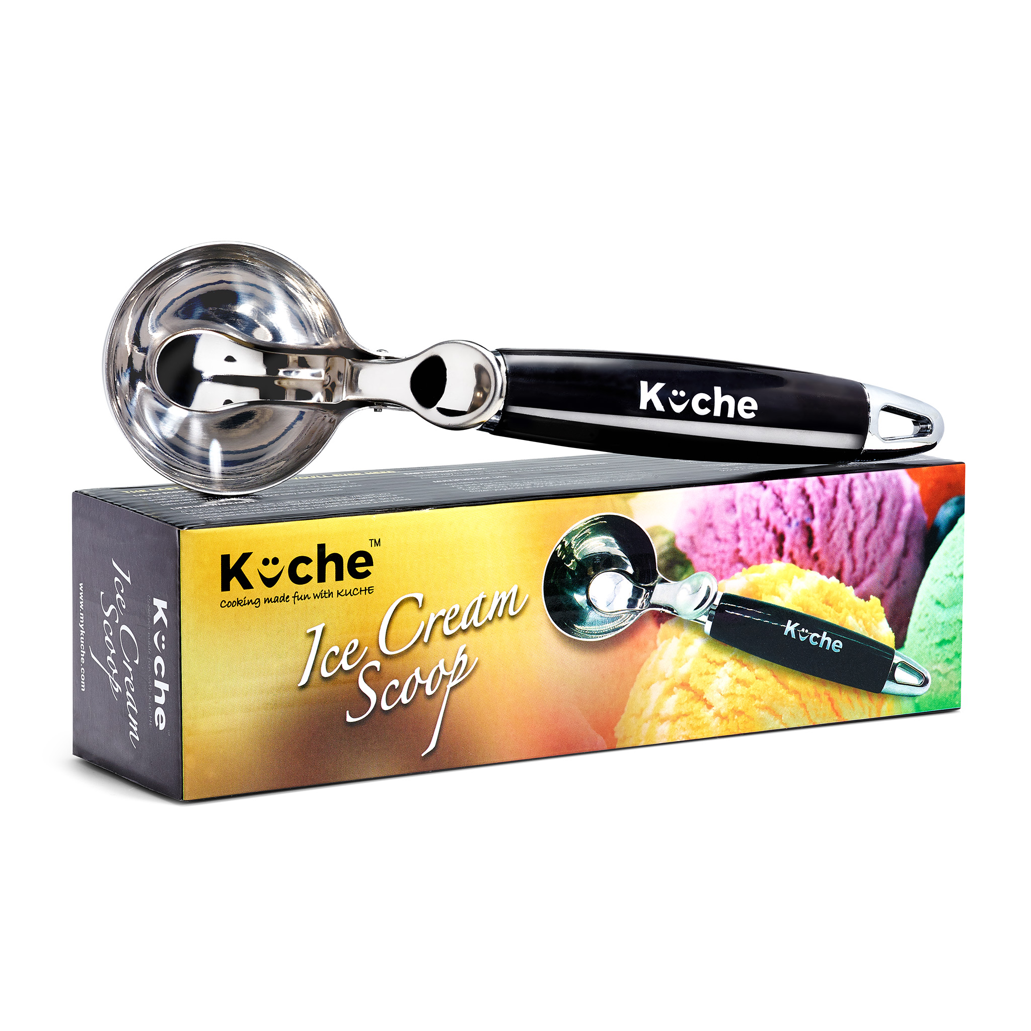 KUCHE All Ease Stainless Steel Ice Cream Scoop with Easy Trigger and Easy Clean Large (BLACK) by Kuche