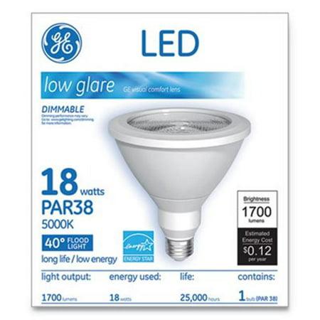 - General Electric 65731 18W 5000K LED PAR38 Dimmable 40 DG Daylight Flood Light Bulb