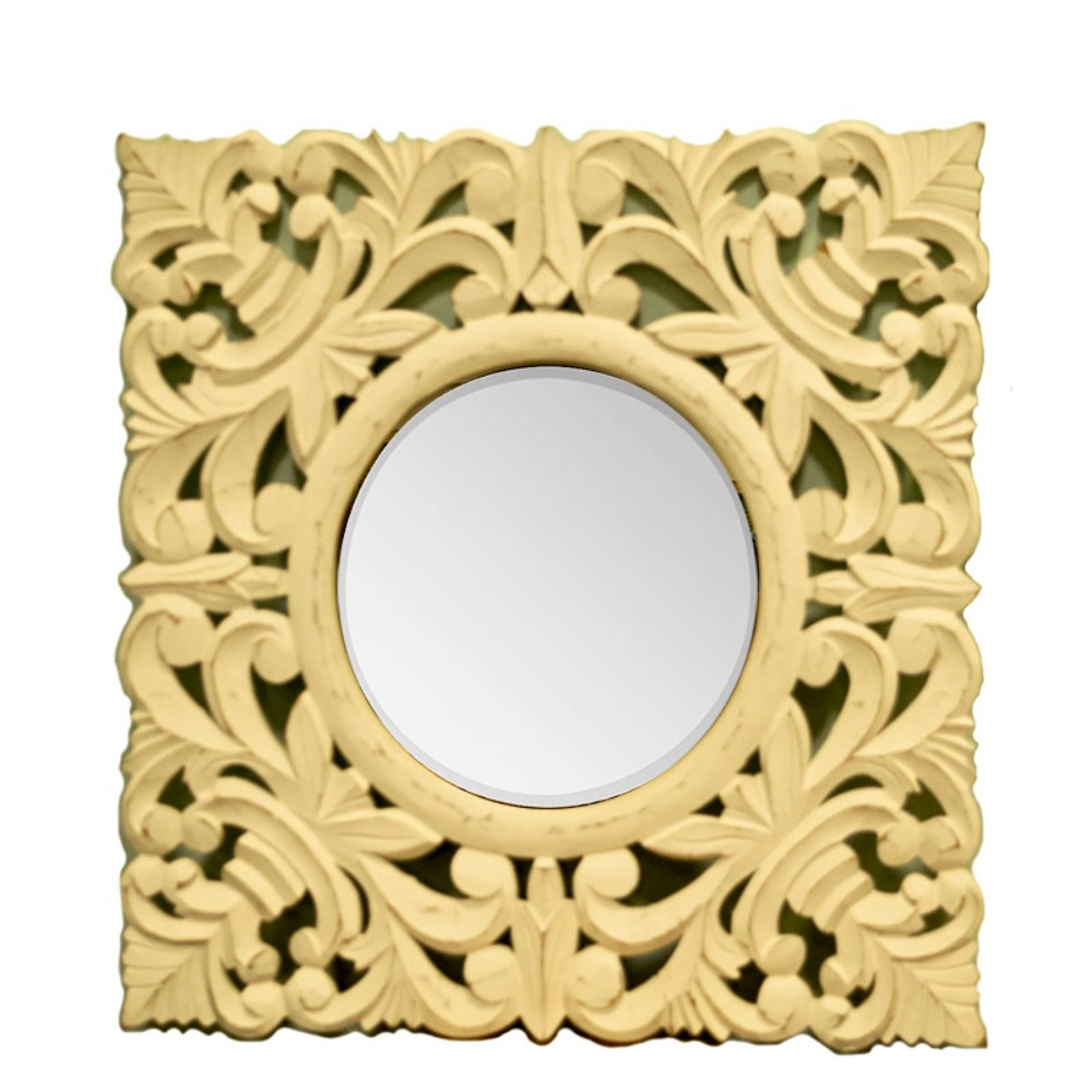 Decorative Mirror with wooden Carving Frame, Brown