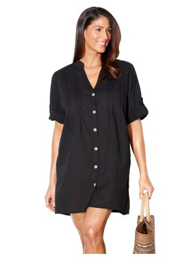 Swimsuits For All Women's Plus Size Button Up Shirt Swimsuit Cover Up