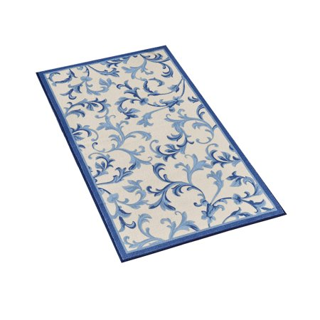 - Classic Scroll Design Tufted Rug with Solid Colored Border and Skid-Resistant Backing, 27