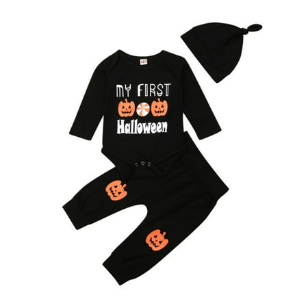 Baby's 1st Halloween Pumpkin Carving (3Pcs Halloween Pumpkin Costume Outfit Set Baby Boys Girls My First Halloween Romper with Hat and Pumpkin Pants Outfits)