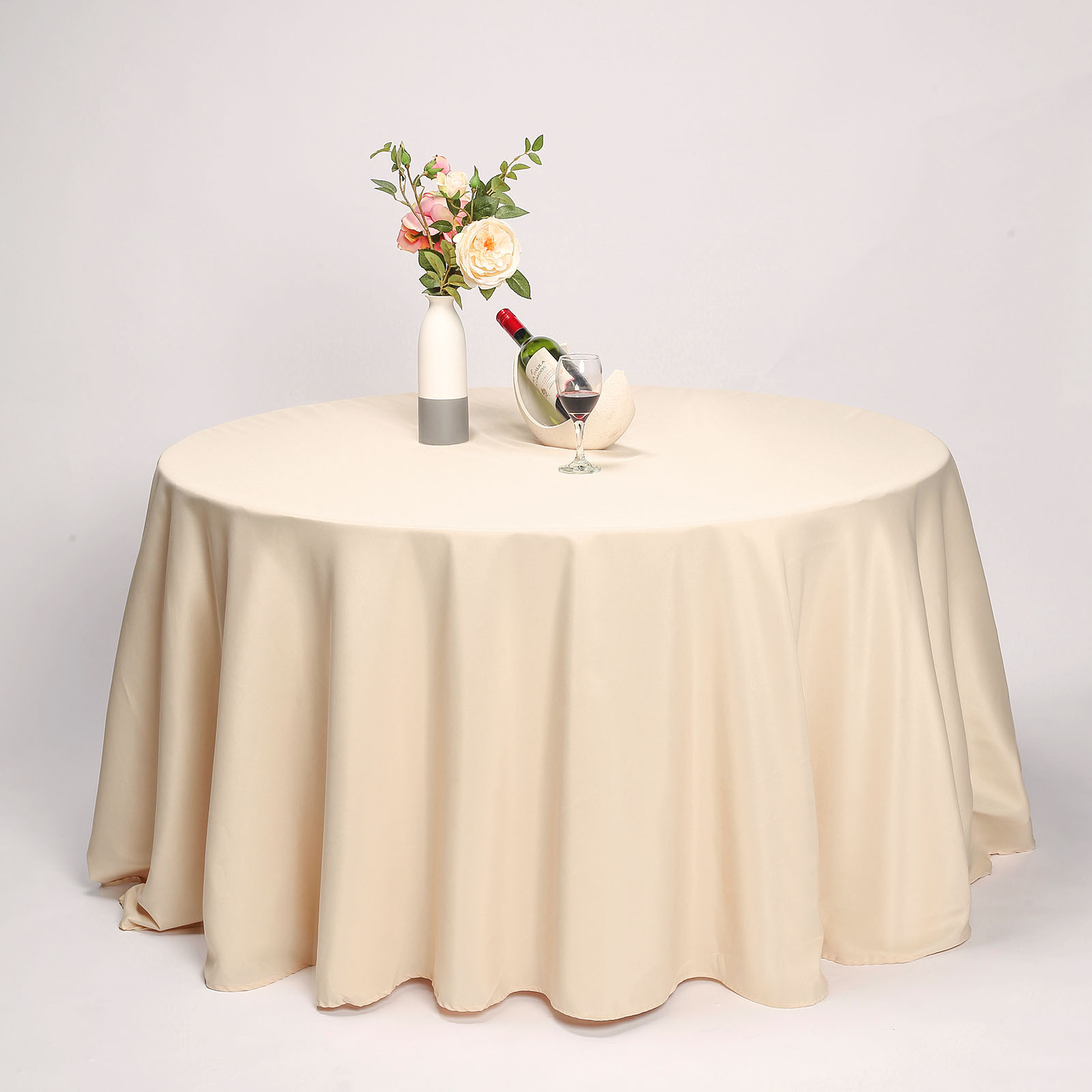 """BalsaCircle 132"""" Round Polyester Tablecloths for Party Wedding Reception Catering Dining Home Table Linens"""