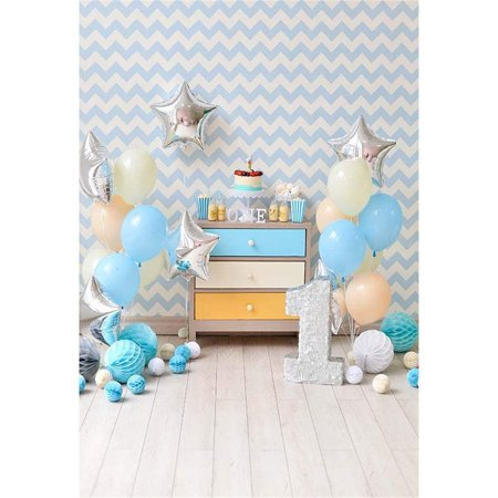 1 Year Old Birthday Party Themes (ABPHOTO Polyester Baby's 1st Birthday Photo Backdrop Wood Floor Balloons Blue Chevron Wall Stars One Year Old Party Photography Background)