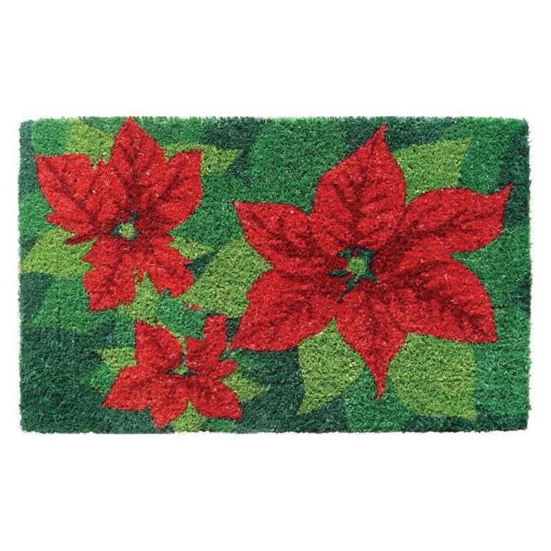 Entryways Poinsettias Hand Woven Coir Doormat