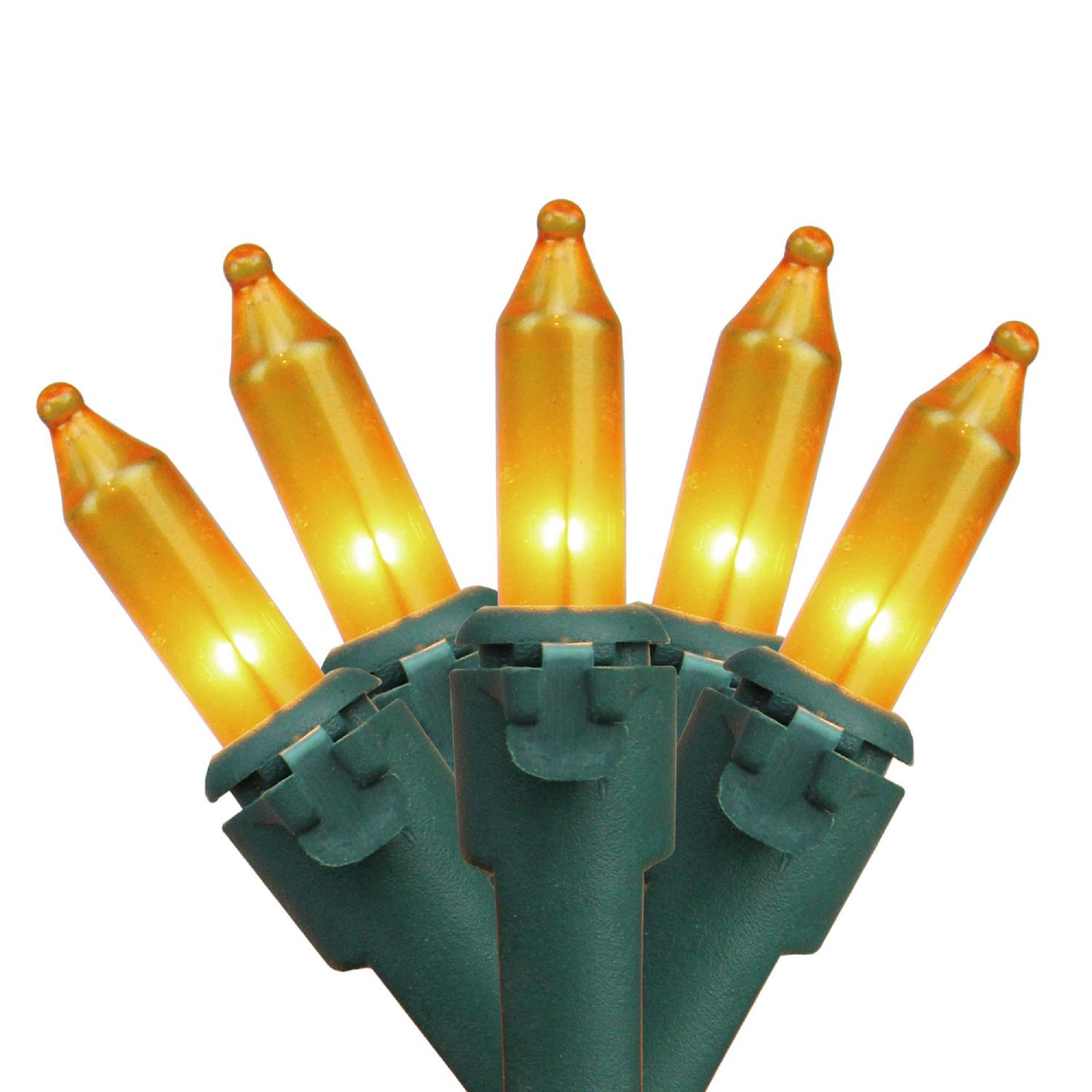 "Set of 100 Opaque Gold Mini Christmas Lights 4.25"" Spacing - Green Wire"