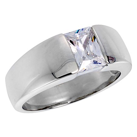 Emerald Cut Mens Rings (Mens Sterling Silver Cubic Zirconia Solitaire Ring Emerald Cut 1.5 ct size, sizes 8 to 13 )