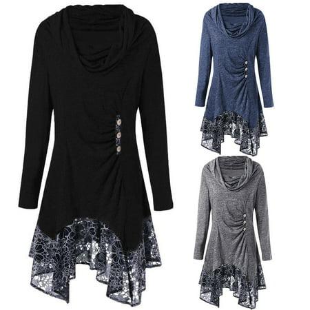 Women's Plus Size Cowl Neck Long Sleeve Irregular Lace Hem Dress,S-5XL, Black Black Lace Cowl