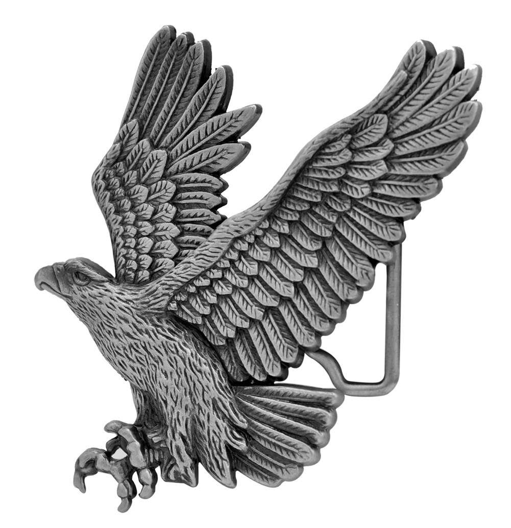 Buckle Rage Western 3D Soaring Eagle Country Belt Buckle, SILVER, 260