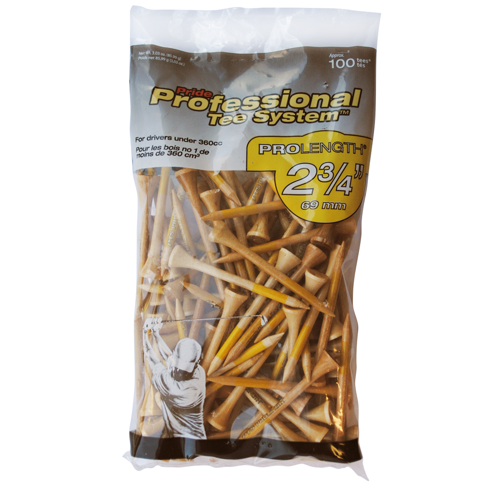 Pride Professional Tee System, 2-3/4 inch ProLength Tee, 12 100 Count Bags, Yellow on Natural