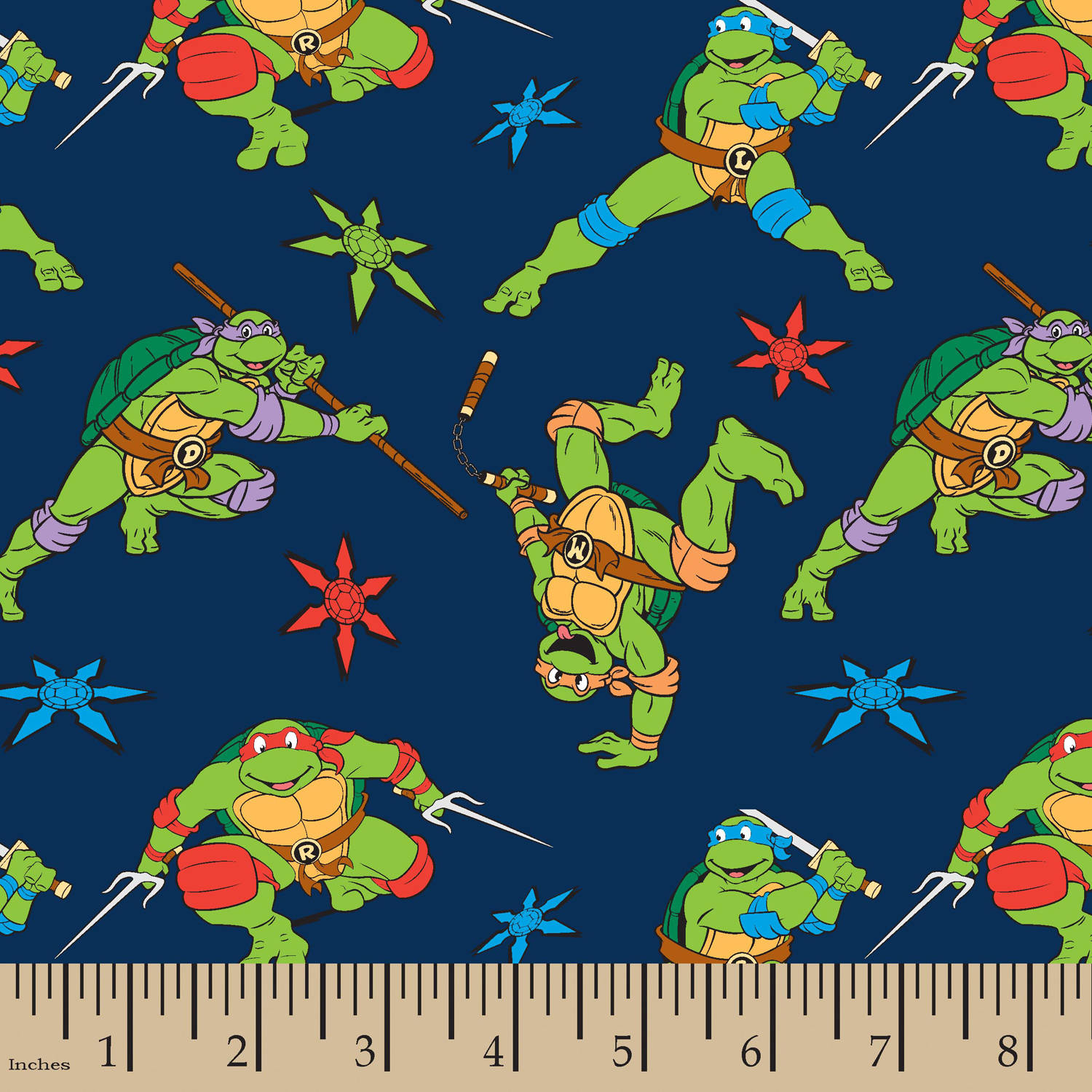"TMNT Cawabunga Toss, Flannel, Navy, 42/43"" Width, Fabric by the Yard"