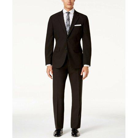 Nautica Men's Modern Fit 2 Button Suit Jacket Blazer Coat Pants, Black, 40S, 34W Button Fly Suit