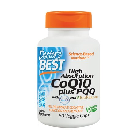 Doctor's Best High Absorption CoQ10 plus PQQ, Gluten Free, Naturally Fermented, Vegan, Heart Health and Energy Production, 60 Veggie