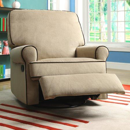 Sofaweb Com Chloe Sand Fabric Nursery Swivel Glider Recliner Chair