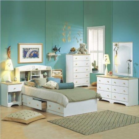 Kids White Twin Wood Captain's Bed 4 Piece Bedroom Set by South Shore