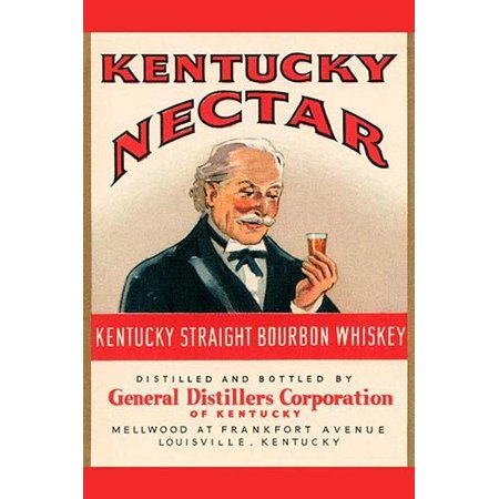 A bottle label for Kentuck straight bourbon whiskey sold under the name Kentucky Nectar Poster Print by (Kentucky Straight Bourbon Whiskey Bottle)